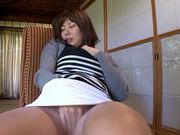 Savoury mature chick Yuma Asami with big tits engulfs cocl