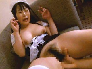 Stunning Asian AV model in the uniform of a maid enjoys hardcore