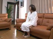 Short-haired AV model Yuzu Ogura tries out her new lingerie