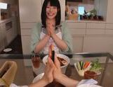 Sexy housewife Ai Uehara enjoys hardcore bang in the kitchen picture 2