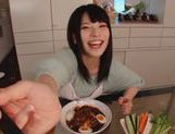 Sexy housewife Ai Uehara enjoys hardcore bang in the kitchen