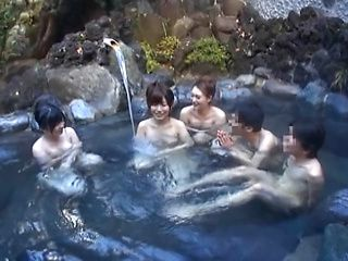 Steamy Japanese female college students seduce a guy in a pool