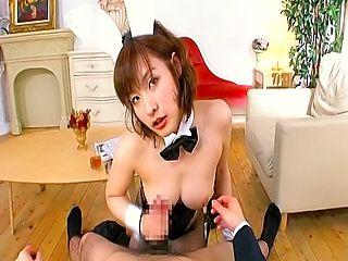 Nao Ayukawa Naughty Asian chick fucks in bunny costume sucks cock