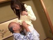 Sweet asian babe Yui Igawa gets pounded by old guy