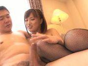 Bang-up cutie in sexy stockings Kokone Mizutani rides cock