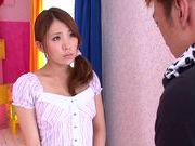 Stunning girl Rin Sakuragi sucking big dick