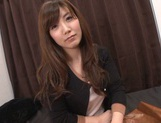 Cute Japanese lady makes a footjob and handjob and gets banged picture 13