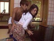 Pretty Asian milf Shiho Tachibana rides cock gets cum on booty