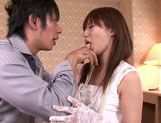 Lovely looking chick Rina Rukawa sexy costume cum on face action picture 14