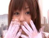 Lovely looking chick Rina Rukawa sexy costume cum on face action picture 2