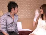 Lovely looking chick Rina Rukawa sexy costume cum on face action picture 8