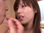 Lovely looking chick Rina Rukawa sexy costume cum on face action