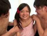 Skinny japanese teen Kokomi Suzuki loves threesome picture 10