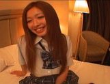 Japanese AV model in school uniform has a good time with her guy