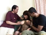 Miu Satsuki Asian doll has huge hooters and gets poked by two men picture 14