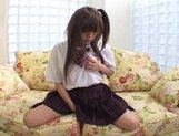 Mina Nakata Lovely Japanese schoolgirl is enjoying her big lifelike dildo