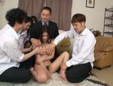 Kinky teen Kana Tsuruti makes double blowjob and gets fucked picture 3