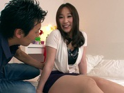 Busty Japanese milf Mei Akiduki ravished by a huge dong