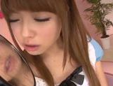 Sweet Asian teen gal Ayumu Sena deepthroats and swallows picture 15