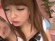 Sweet Asian teen gal Ayumu Sena deepthroats and swallows