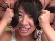 Hana Haruna pretty Asian teen gets massive load on her body