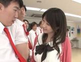 Hot Asian teacher Arisa Misato fucked by many cocks enjoys bukkake picture 12