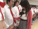Hot Asian teacher Arisa Misato fucked by many cocks enjoys bukkake picture 14