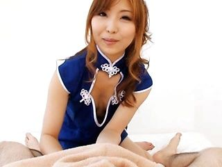 Sexy costume of Hikari Kasumi gets taken off during massage