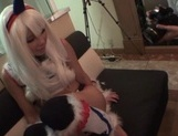 Famous Tokyo cosplayer Koharu Aoi has sex with three horny guys