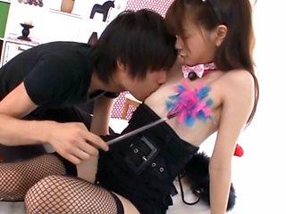 Superb Japanese servant Rina Osawa pleases her master