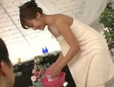Skinny Japanese AV gal Anna Anjo gets soaped and screwed