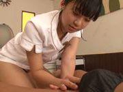Sexy Asian nurse Rino Nanse treats her patient by cock sucking