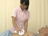 Nice looking Asian nurse with tiny tits has sex with a mature patient picture 15