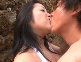 Curvy busty girl Minako Komukai gets fingered and nailed outdoors picture 2