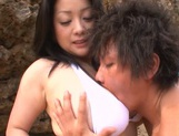 Curvy busty girl Minako Komukai gets fingered and nailed outdoors