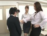 Horny office vixens Chisato Shohda and friend handle cock picture 10