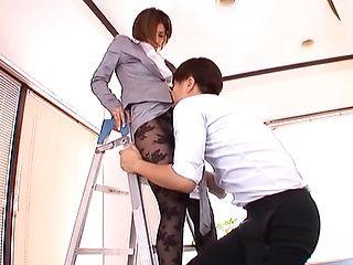 Naughty office girl Akar Asahina sucks and rides naughty rod