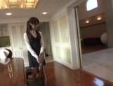 Naughty Asian office lady Shizuku Memori gives a cute foot job picture 11