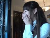 Naughty Asian office lady Shizuku Memori gives a cute foot job picture 13