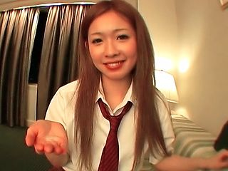 Japanese AV model enjoys sucking lots of cock in her school uniform