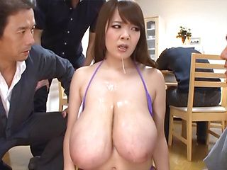 Hitomi arousing Asian babe with huge tits in hardcore gangbang
