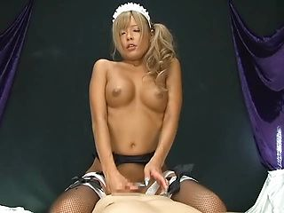 Amazing AV Model is a hot blonde Asian maid