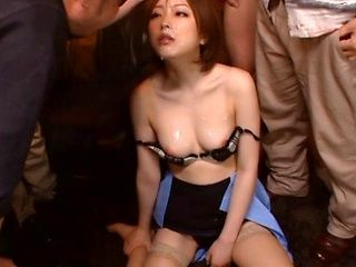 Ai Haneda Asian doll in police uniform enjoys hot group