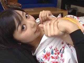 Sexy Japanese lady in kimono Mako Mizuhara rides cock in pov