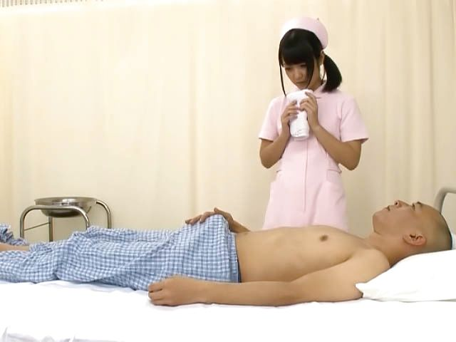 Nice looking Asian nurse with tiny tits has sex with a mature patient
