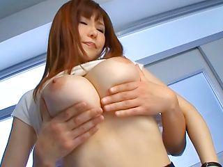Anri Okita arousing Asian milf shows off in her short skirt