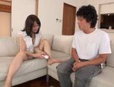 Yuina Nakazato gets a vibrator and cock in her teen pussy