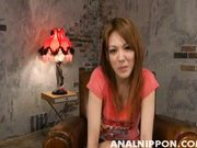 Cute Japanese AV model Rei enjoys toys in her anal and engulfs dick