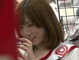 Naughty Japanese salesgirl Yui Akane makes a handjob picture 6