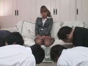 Three Guys Feed Their Meat Into The Naughty Office Teen